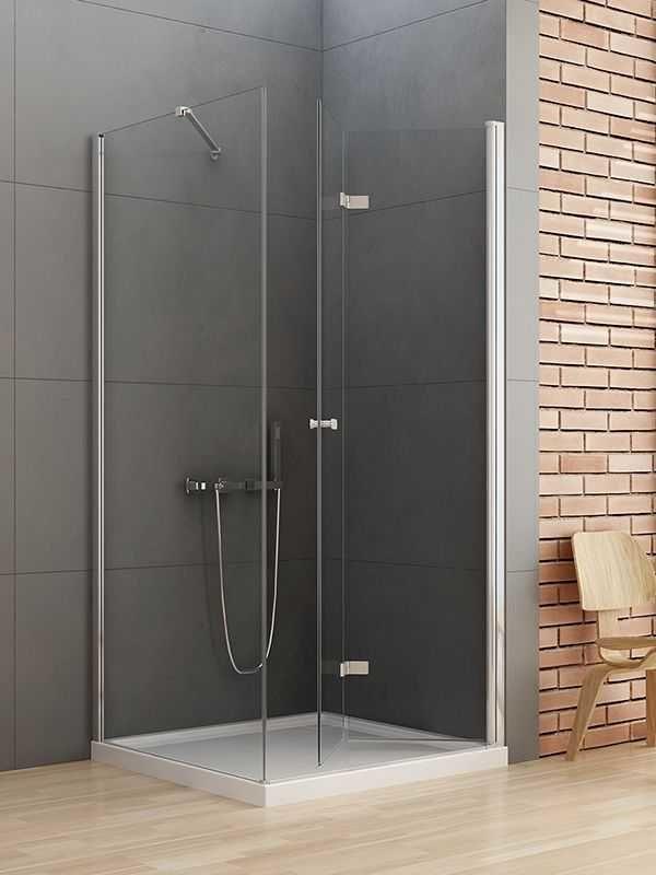 Kabina prysznicowa kwadratowa New Trendy Gold NEW SOLEO 70x70 Prawa, wys. 195 cm, szkło czyste 6mm D-0151A/D-0086B