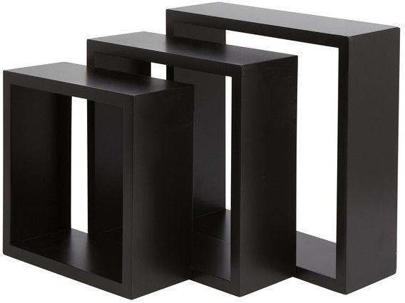 Zestaw 3 półki Form Rigga Kubik czarne