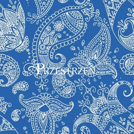 SERWETKI PAPIEROWE - Ornamenty Paisley Indigo - niebieskie