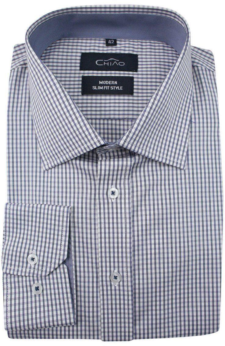 Biała Koszula Męska z Długim Rękawem, 100% Bawełna -CHIAO- Taliowana, w Niebiesko-Szarą Kratkę KSDWCHIAOM3D01C