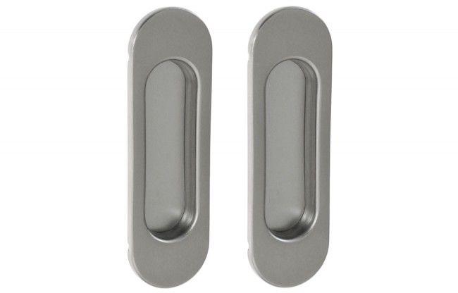 Uchwyt do drzwi przesuwnych owalny 125x33 mm. satyna (2 szt)