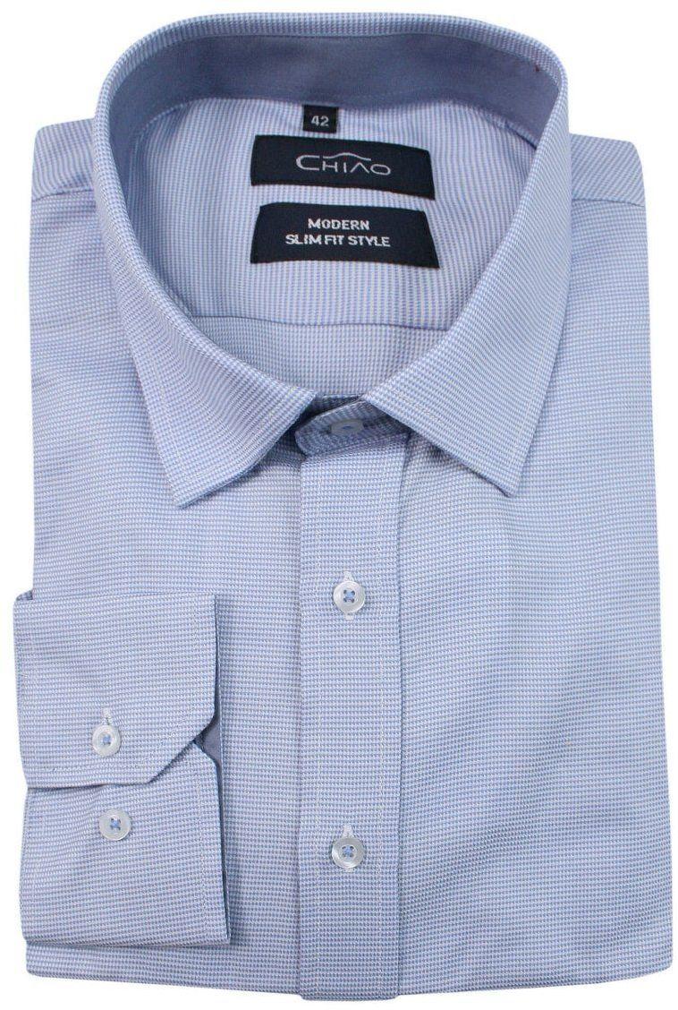 Niebieska, Błękitna Koszula Męska z Długim Rękawem, 100% Bawełna -CHIAO- Taliowana, Drobna Kratka KSDWCHIAOM3B02C