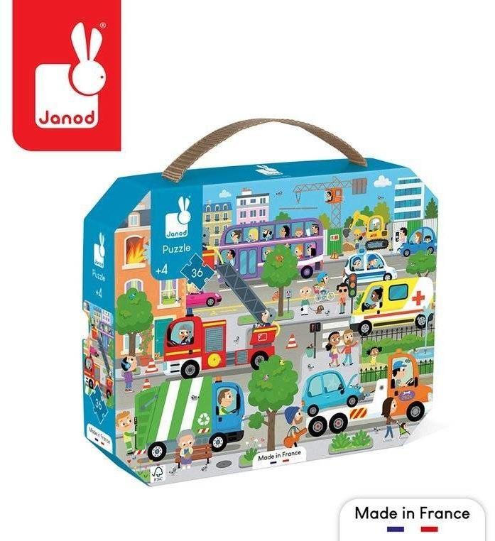 Puzzle w walizce Miasto 36 elementów 4+ Made in France J02644-Janod