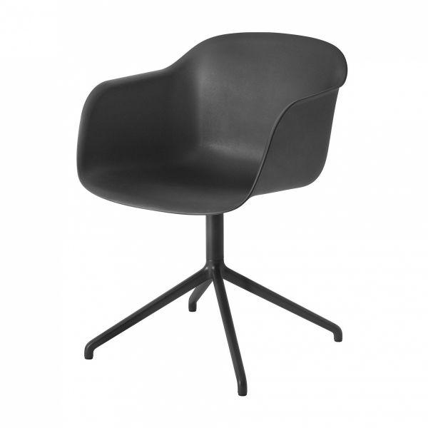 Muuto FIBER ARMCHAIR SWIVEL BASE Krzesło Obrotowe - Czarne / Metalowa Rama