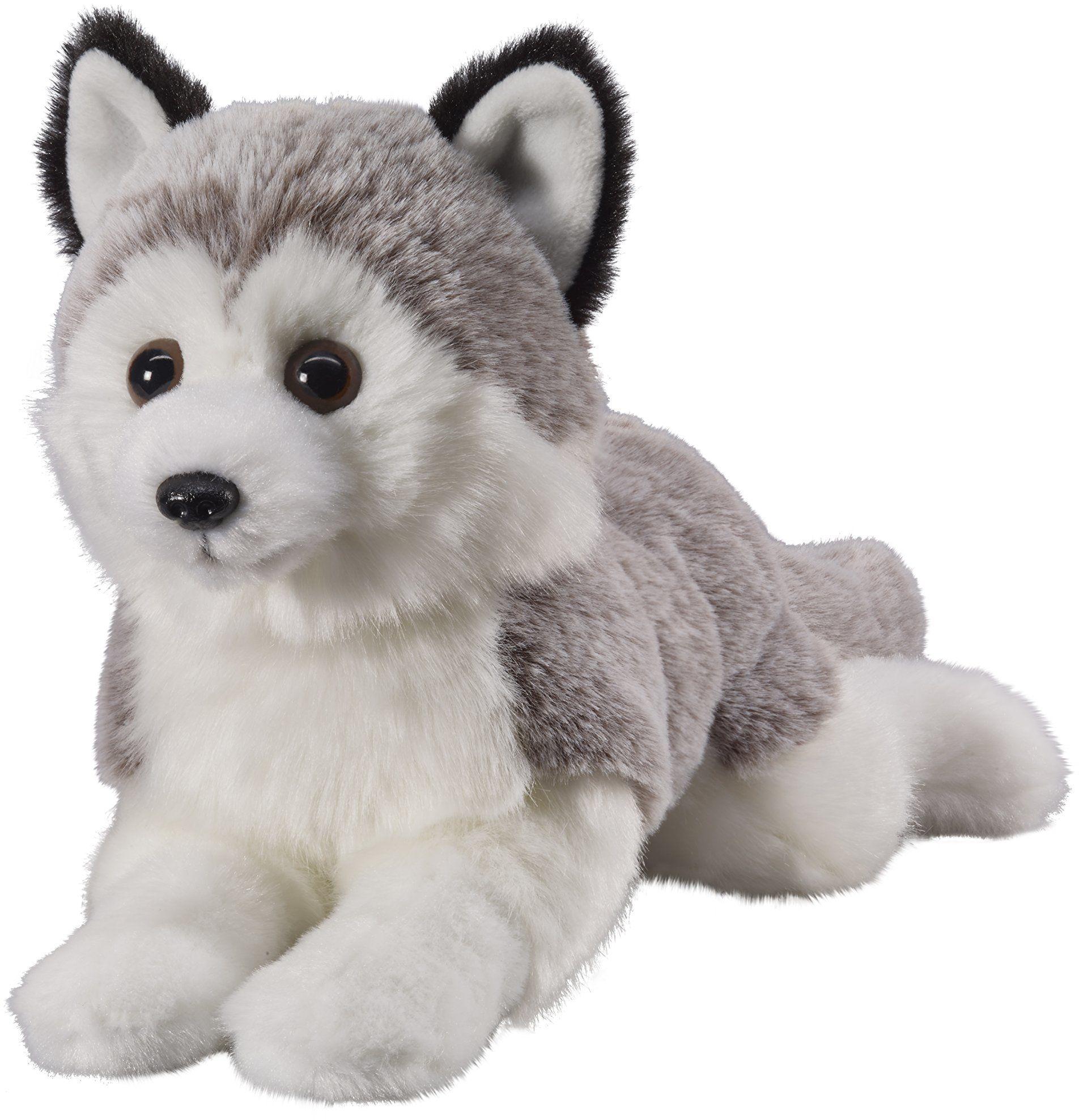 Twoje zwierzęta z sercem Bauer zabawki Husky leżące: małe przytulanki do przytulania i miłości, idealne na prezent, 18 cm, szaro-białe (12505)