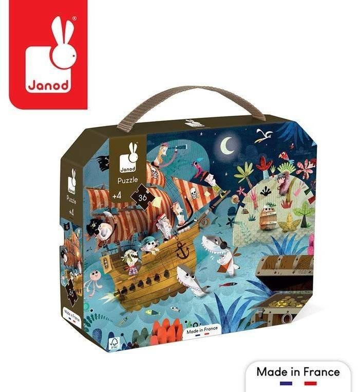 Puzzle w walizce Wyprawa po skarb 36 elementów 4+ Made in France J02614-Janod