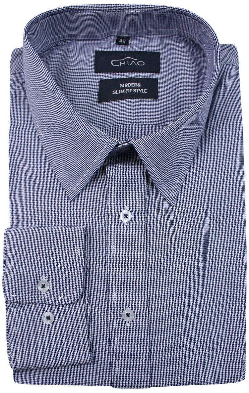 Granatowa Koszula Męska z Długim Rękawem w Drobną Kratkę, 100% Bawełna -CHIAO- Taliowana KSDWCHIAOM2C01C