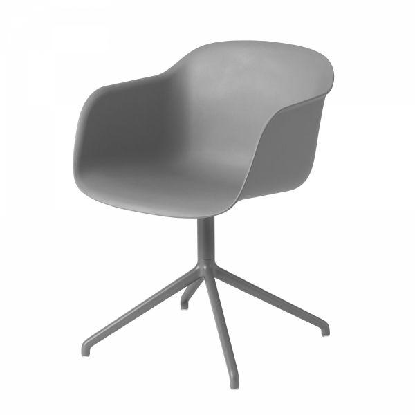 Muuto FIBER ARMCHAIR SWIVEL BASE Krzesło Obrotowe - Szare / Metalowa Rama