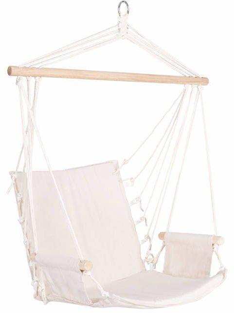 Fotel wiszący z podłokietnikami 130x90cm hamak brazylijski kremowy