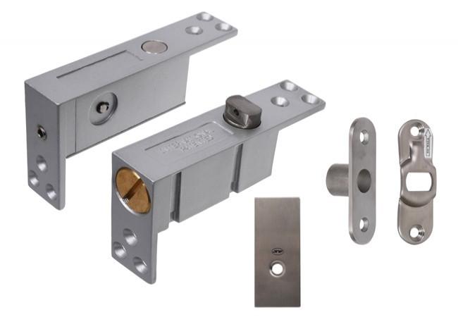 Zawias JNF wpuszczany typu pivot z samodomykaczem, blokada 90 stopni do drzwi drewnianych dwukierunkowych (35-45mm, do 900 mm, do 100 kg)