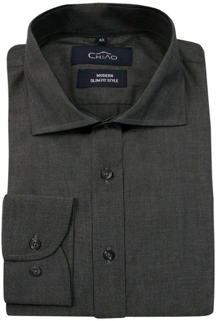 Popielata Koszula Męska z Długim Rękawem, 100% Bawełna -CHIAO- Taliowana, Jednokolorowa KSDWCHIAOM1A01C