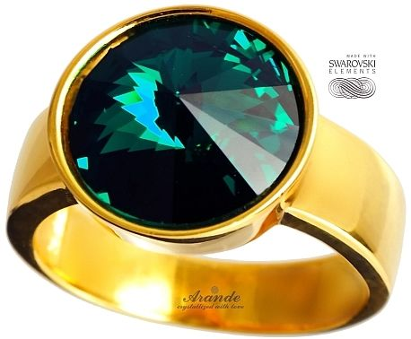 SWAROVSKI piękny pierścionek EMERALD ZŁOTE SREBRO