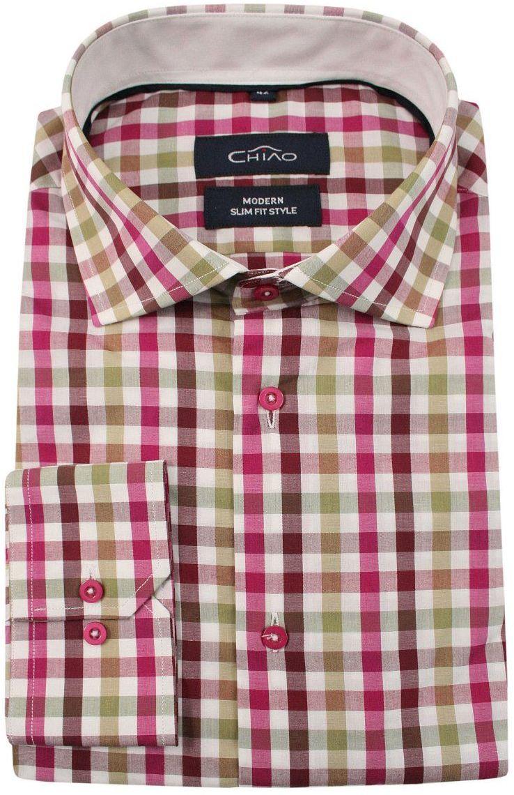 Różowo-Oliwkowa Koszula Męska z Długim Rękawem, 100% Bawełna -CHIAO- Taliowana, w Kratkę KSDWCHIAOH4141