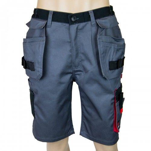 Spodnie krótkie AVACORE LENNOX szaro czarne z czerwonymi elementami