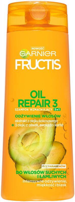 GARNIER - FRUCTIS - OIL REPAIR 3 - Wzmacniający szampon do włosów suchych i łamliwych 2w1 - 400 ml