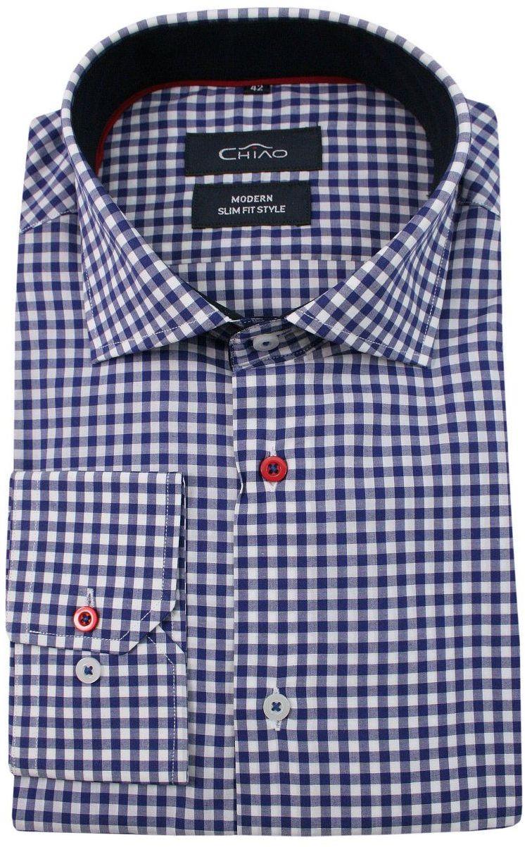 Granatowo-Biała Koszula Męska z Długim Rękawem, 100% Bawełna -CHIAO- Taliowana, w Kratkę KSDWCHIAOH4132