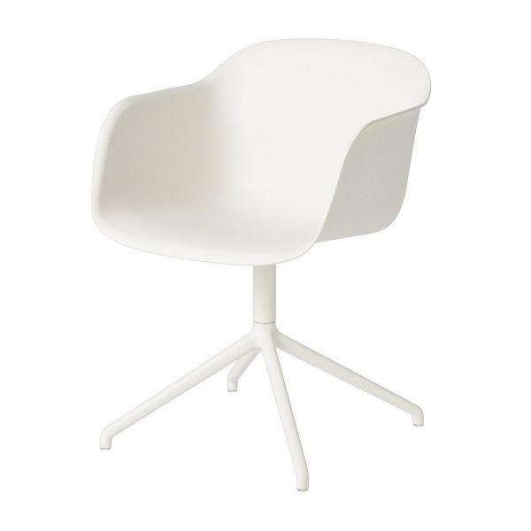 Muuto FIBER ARMCHAIR SWIVEL BASE Krzesło Obrotowe - Białe / Metalowa Rama