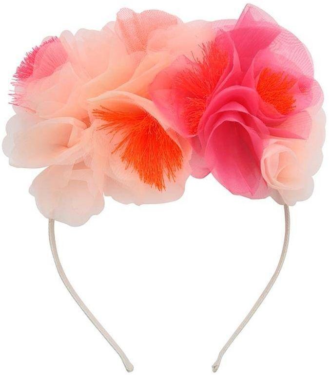 Opaska do włosów bukiet kwiatów różowy