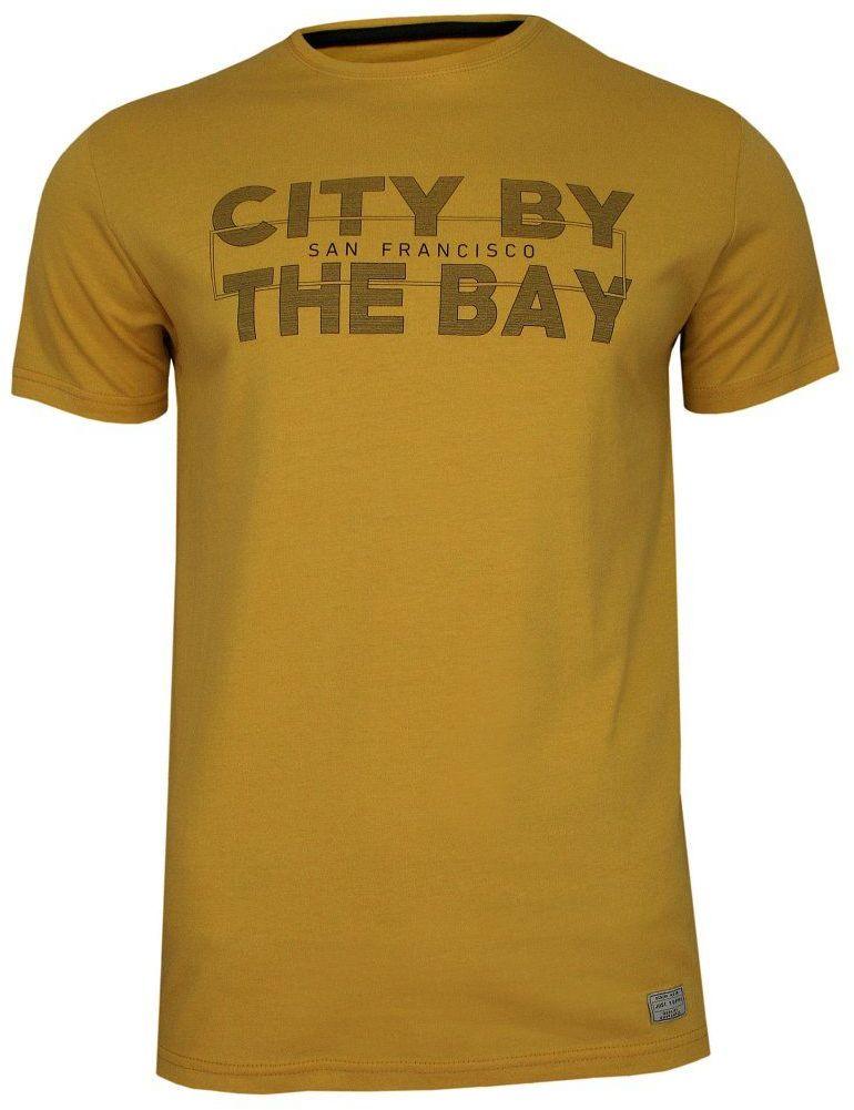 Żółty T-shirt Męski, Krótki Rękaw -Just Yuppi- Koszulka, z Nadrukiem, Napisy, Musztardowa TSJTYUP10012kol9zolty