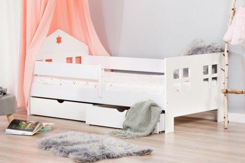 Łóżko 180x80cm Ladybird z dwiema szufladami kolor biały