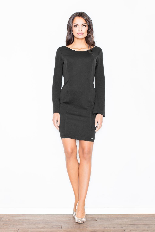 Czarna prosta sukienka z dekoltem na plecach z długim rękawem