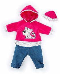 Bayer Design 84678AA odzież dla lalek 40-46 cm, spodnie, górna część i czapka, zestaw, strój z panterą, różowy, biały, dżinsy