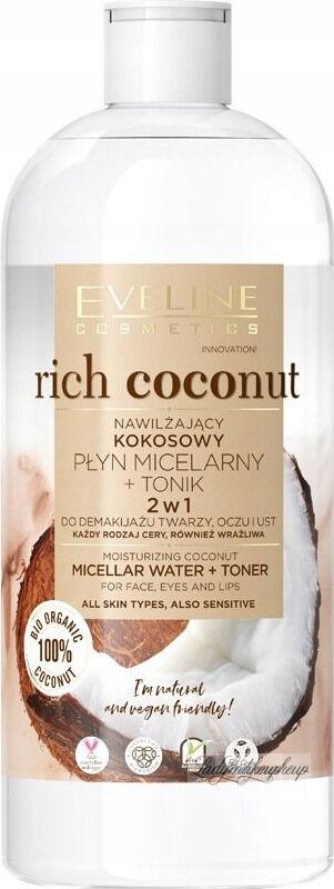 Eveline Cosmetics - Rich Coconut - Micellar Water + Toner - Nawilżający, kokosowy płyn micelarny + Tonik 2w1 - 500 ml