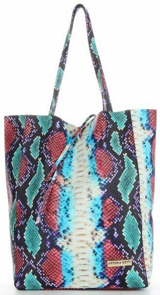 Torebki Skórzane ShopperBag w motyw węża firmy VITTORIA GOTTI Turkusowa (kolory)