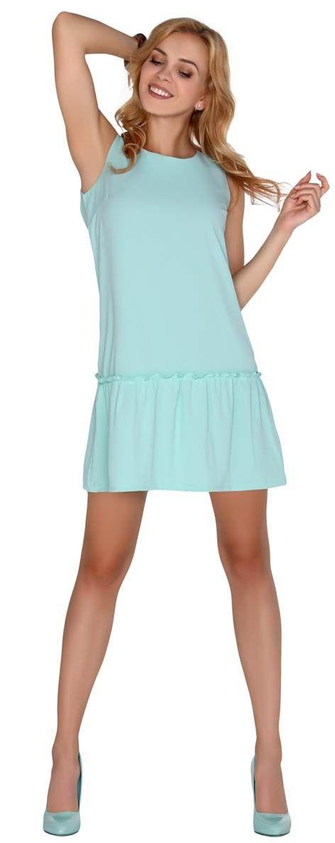 Miętowa sukienka z obniżonym stanem wiązana na plecach