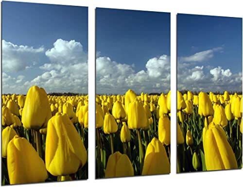 MULTI wydruki drewniane artystyczne pudełko z nadrukiem w ramce obraz wiszący na ścianie - tulipany ziemne żółte, (całkowity rozmiar: 98,2 x 61,4 cala) - oprawiony i gotowy do powieszenia - ref. 26258