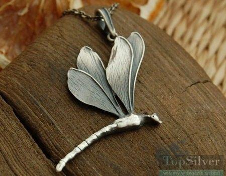 Ważki w locie ii - srebrny wisior