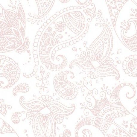 SERWETKI PAPIEROWE - Ornamenty Paisley White Pink