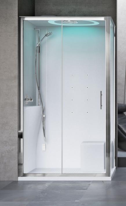 Novellini Eon kabina prostokątna z hydromasażem 120x90 lewa EON2P299ST1-1AK