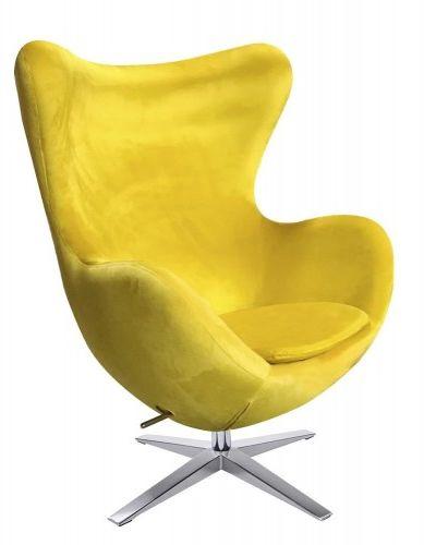 Fotel EGG SZEROKI VELVET Żółty