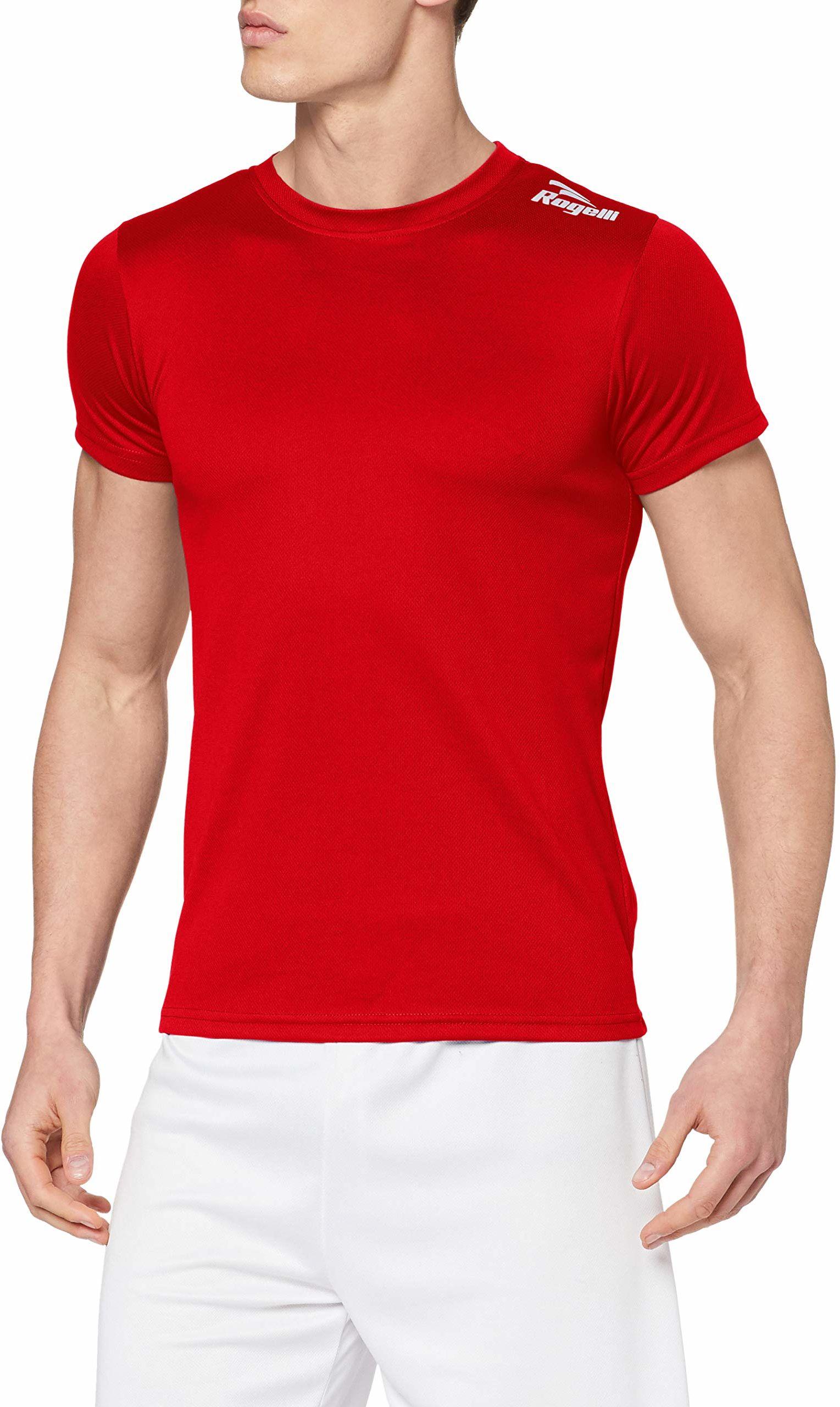 Rogelli męski top z krótkim rękawem Promo, czerwony, XS