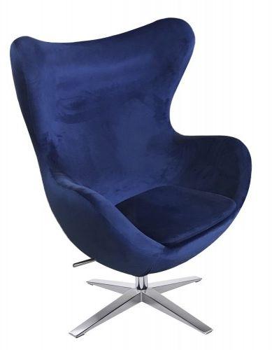 Fotel EGG SZEROKI VELVET niebieski