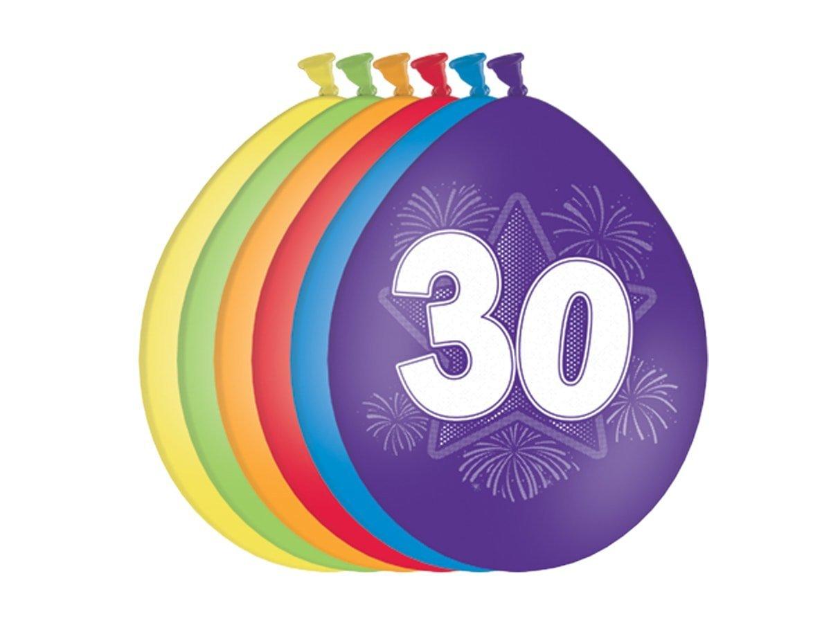 Balony urodzinowe 30tka - 27 cm - 6 szt.