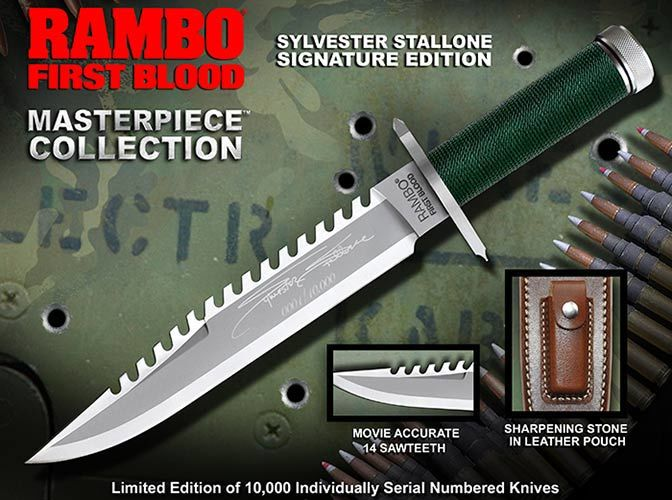 Nóż Rambo I Sylvester Stallone Signature Edition Hollywood Collectibles Group