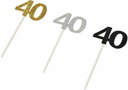 Mopec A040 Pic 40 lat Stdo.srebrny/złoty/czarny brokat, 12 sztuk, karton, wielokolorowy, jeden rozmiar,