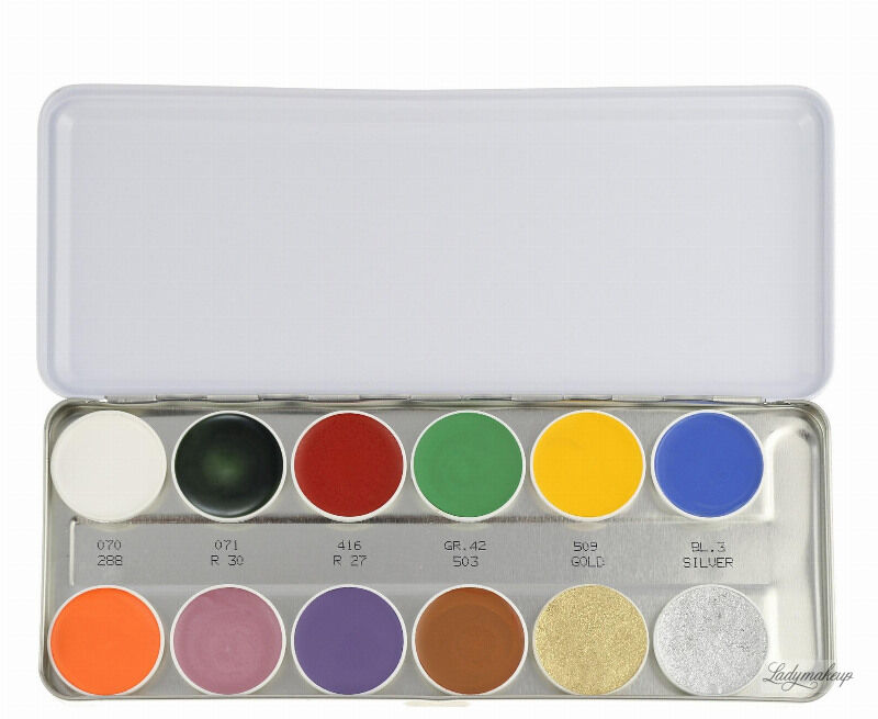 KRYOLAN - SUPRACOLOR - Make-up Palette with 12 colours - Paleta 12 tłustych farb do malowania twarzy - ART. 1004 - SN