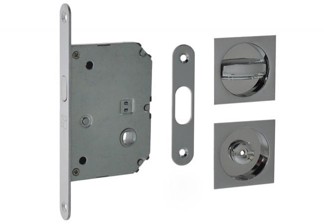 Zamek WC do drzwi przesuwnych z uchwytem kwadratowym 55x55 mm. chrom