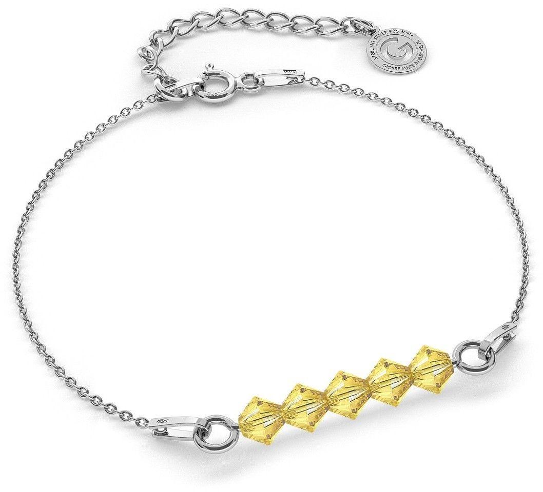 Srebrna bransoletka z kamieniami Swarovski, srebro 925 : Srebro - kolor pokrycia - Pokrycie platyną, SWAROVSKI - kolor kryształu - Light Topaz