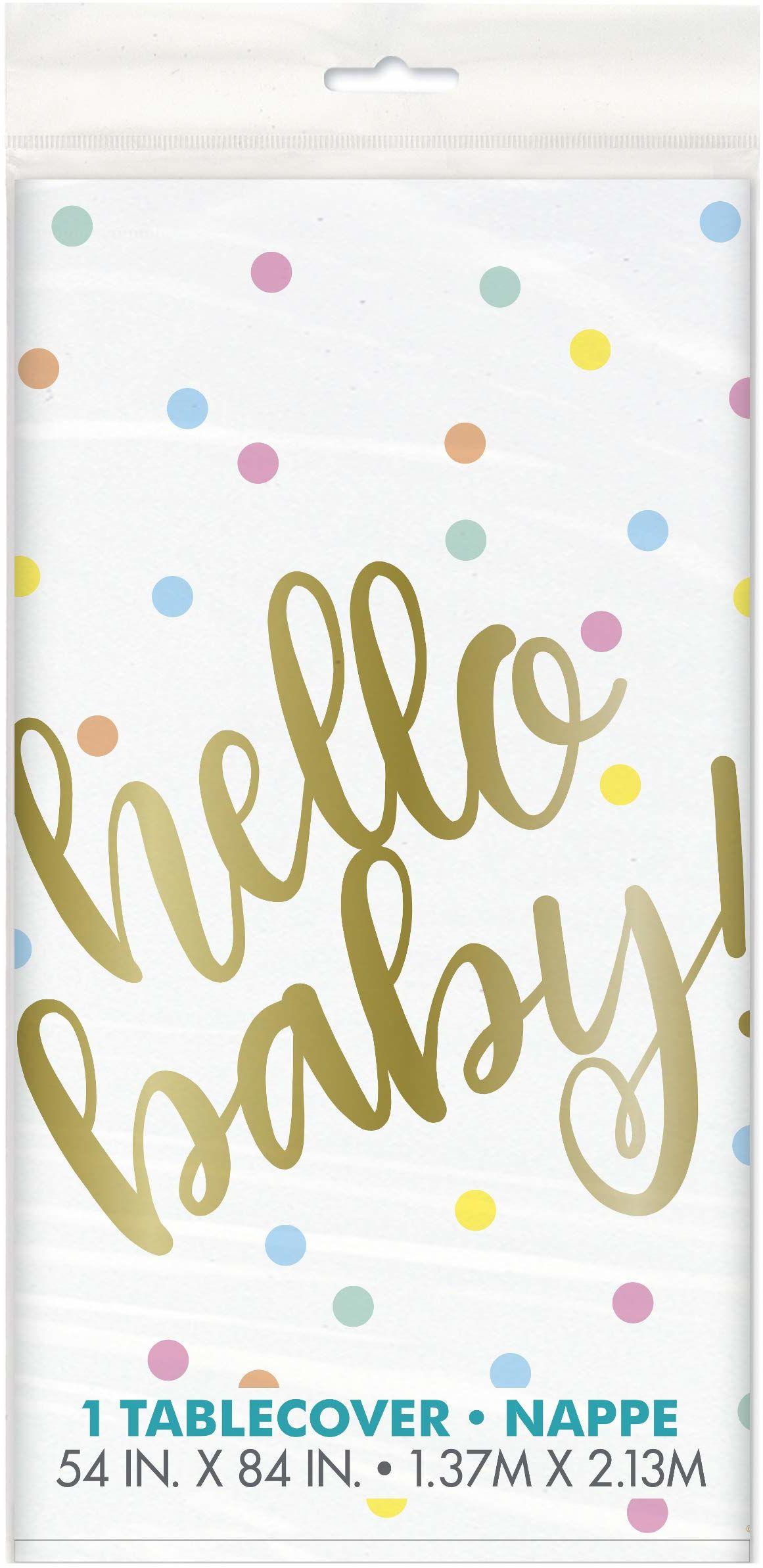 """Unique Party 73523 - """"Hello Baby"""" złoty plastikowy obrus na bociankowe, 20 cm x 1,5 m"""