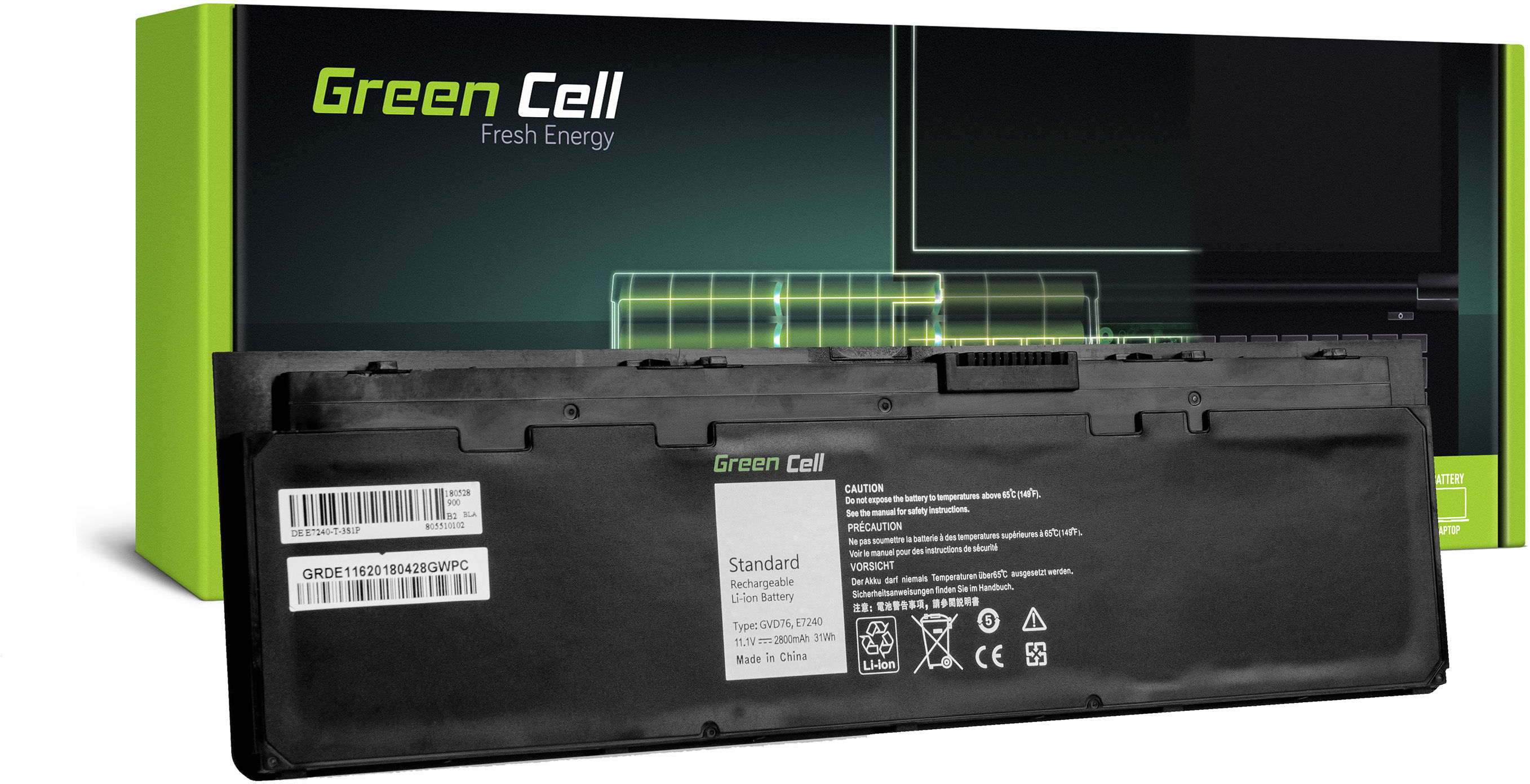 Bateria Green Cell WD52H GVD76 do Dell Latitude E7240 E7250