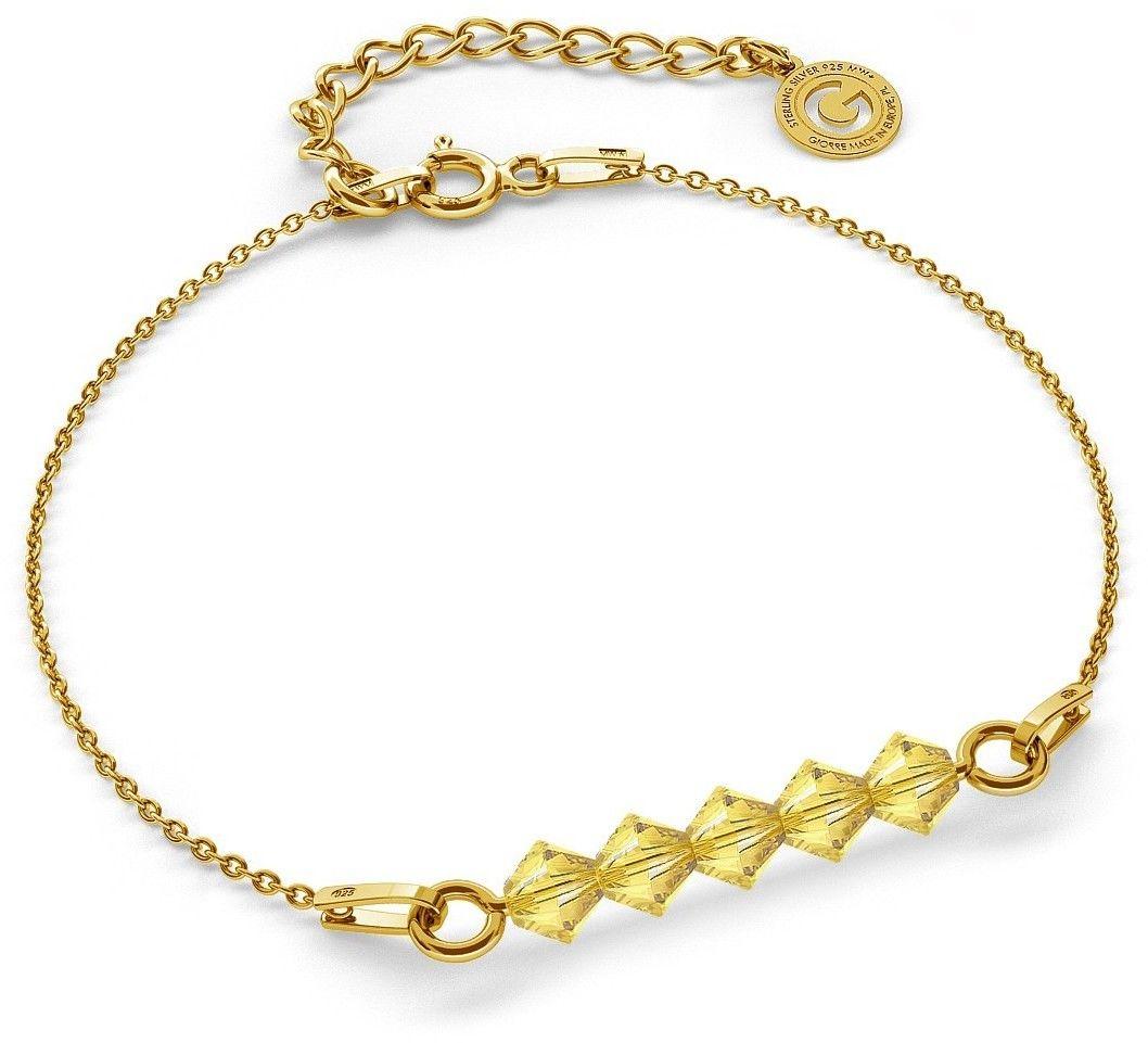 Srebrna bransoletka z kamieniami Swarovski, srebro 925 : Srebro - kolor pokrycia - Pokrycie żółtym 18K złotem, SWAROVSKI - kolor kryształu - Light Topaz