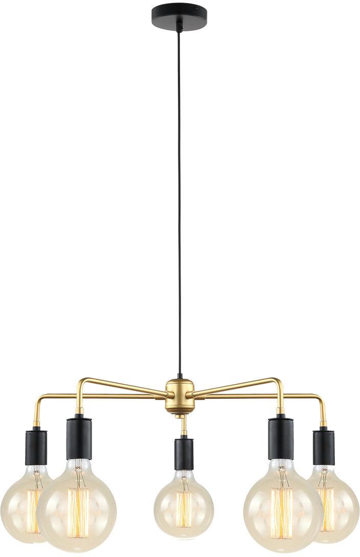 Lampa wisząca żyrandol MALENE MDM3386/5 BK+GD złota loft Italux