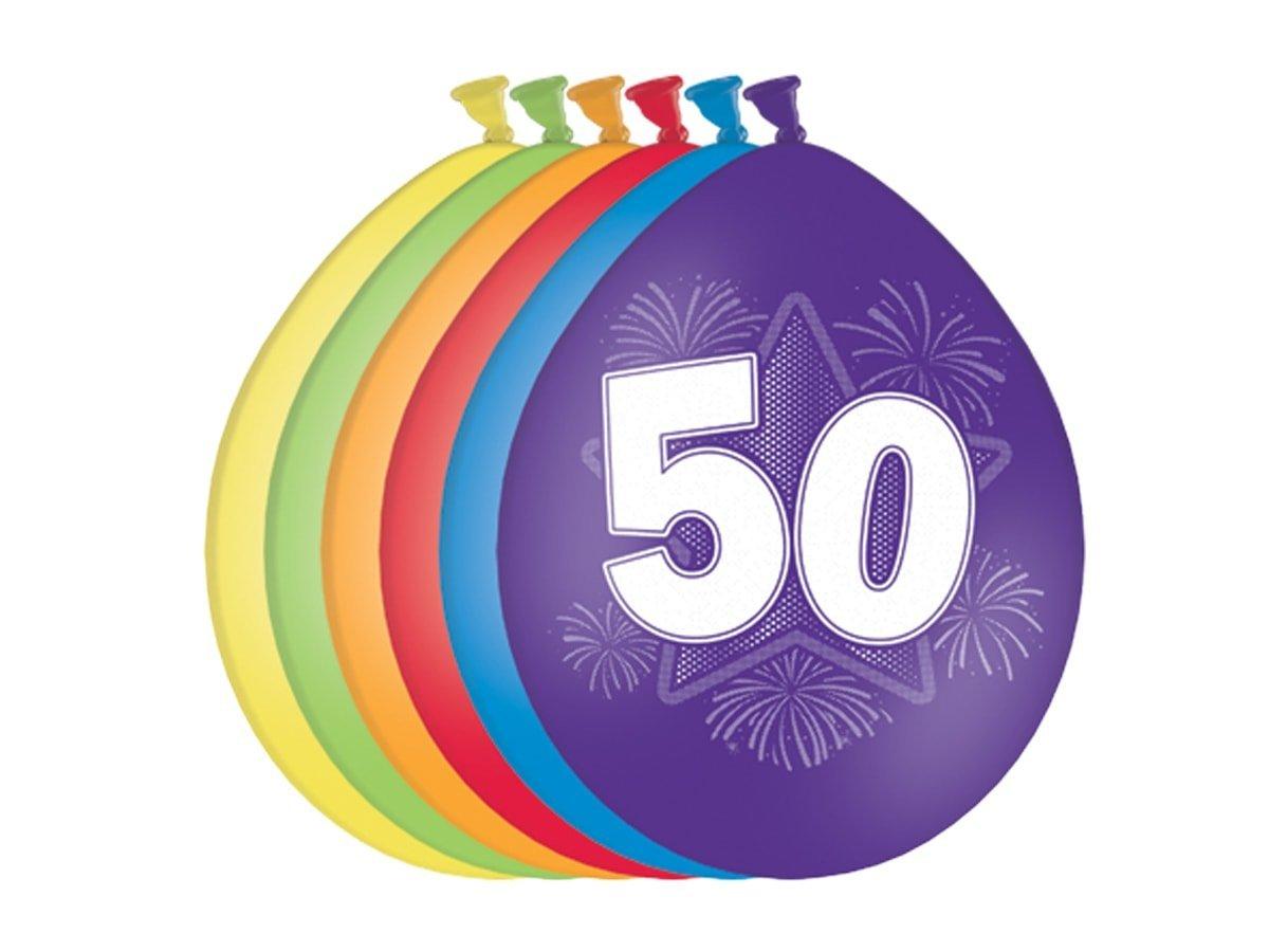 Balony urodzinowe 50tka - 27 cm - 6 szt.