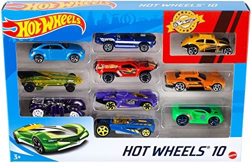 Hot Wheels 54886 Die-Cast Pojazdy, Wielokolorowe, 10 Sztuk W Skali 1:64
