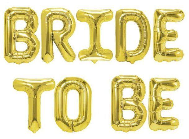 Zestaw balonów na Wieczór Panieński Bride to Be złote 460438