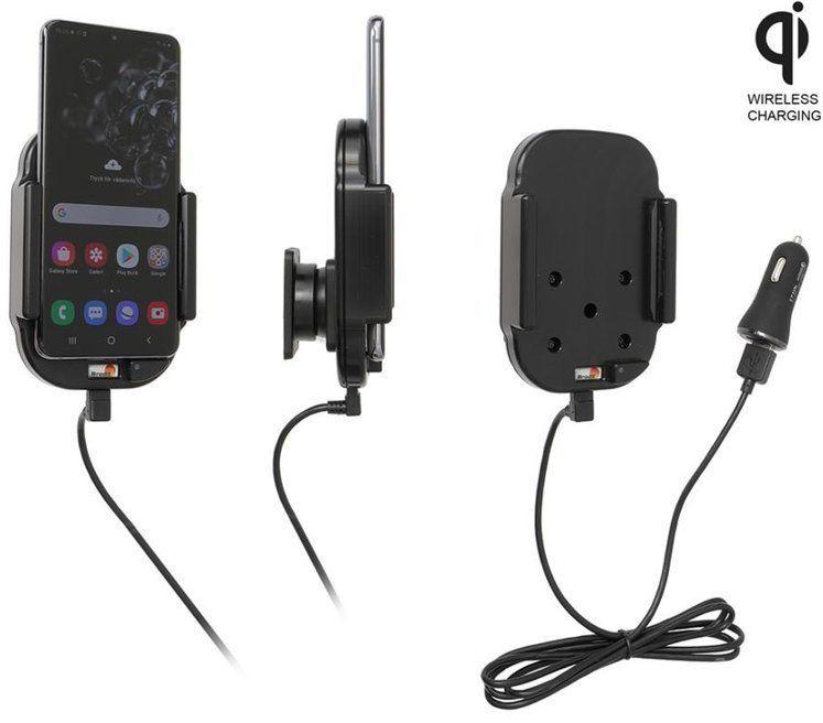 Uchwyt indukcyjny dedykowany do Samsung Galaxy S20 z wbudowanym kablem USB oraz ładowarką samochodową